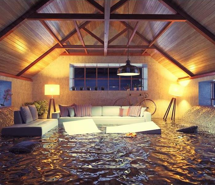 Attic with flood water