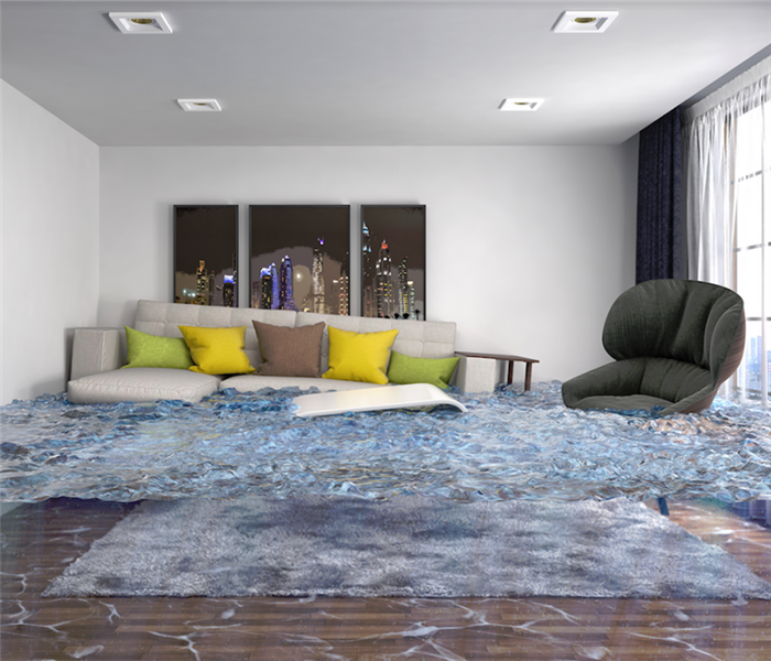 flooded living room with furniture floating everywhere