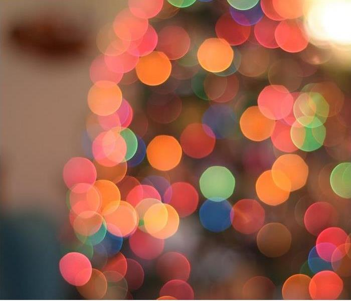 closeup of holiday lights; blurred for effect